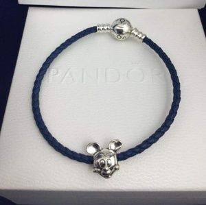 Pandora leather bracelet with Pandora Mickey charm